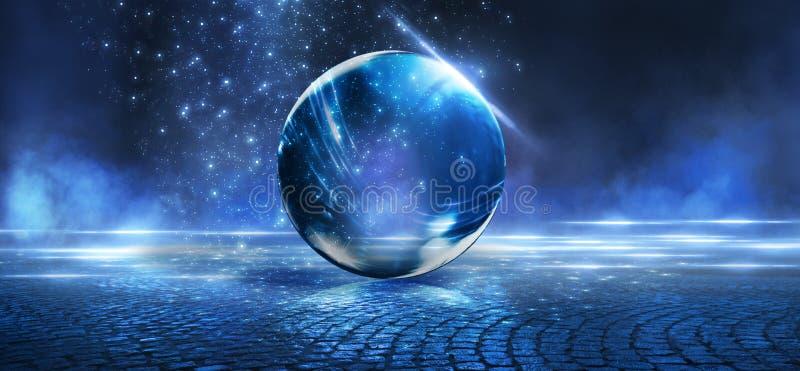 Bola de cristal, reflexi?n de las luces de ne?n, rayos, resplandor Fondo de ne?n abstracto Las luces de la ciudad de la noche Bol imágenes de archivo libres de regalías
