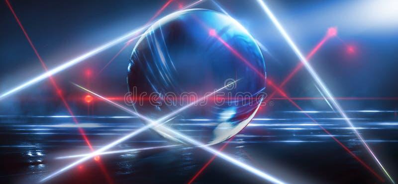 Bola de cristal, reflexi?n de las luces de ne?n, rayos, resplandor Fondo de ne?n abstracto Las luces de la ciudad de la noche Bol fotografía de archivo libre de regalías