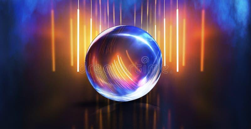 Bola de cristal, reflexi?n de las luces de ne?n, rayos, resplandor Fondo de ne?n abstracto Las luces de la ciudad de la noche Bol imagen de archivo libre de regalías