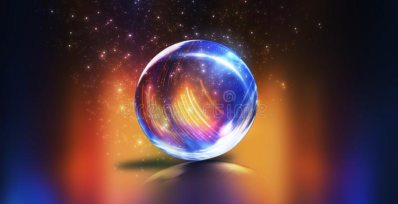Bola de cristal, reflexi?n de las luces de ne?n, rayos, resplandor Fondo de ne?n abstracto Las luces de la ciudad de la noche Bol imagenes de archivo