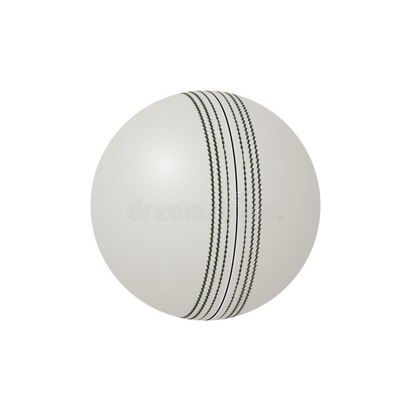 Bola de cuero blanca, vector realista del grillo de ODI ilustración del vector