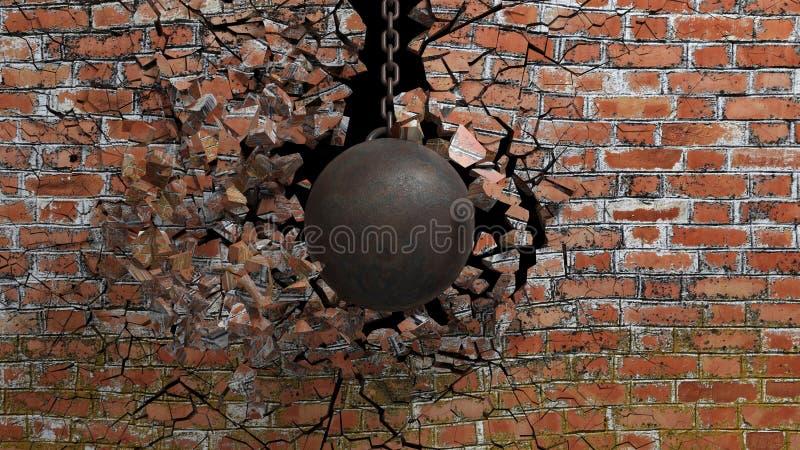 Bola de destruição oxidada metálica ilustração royalty free
