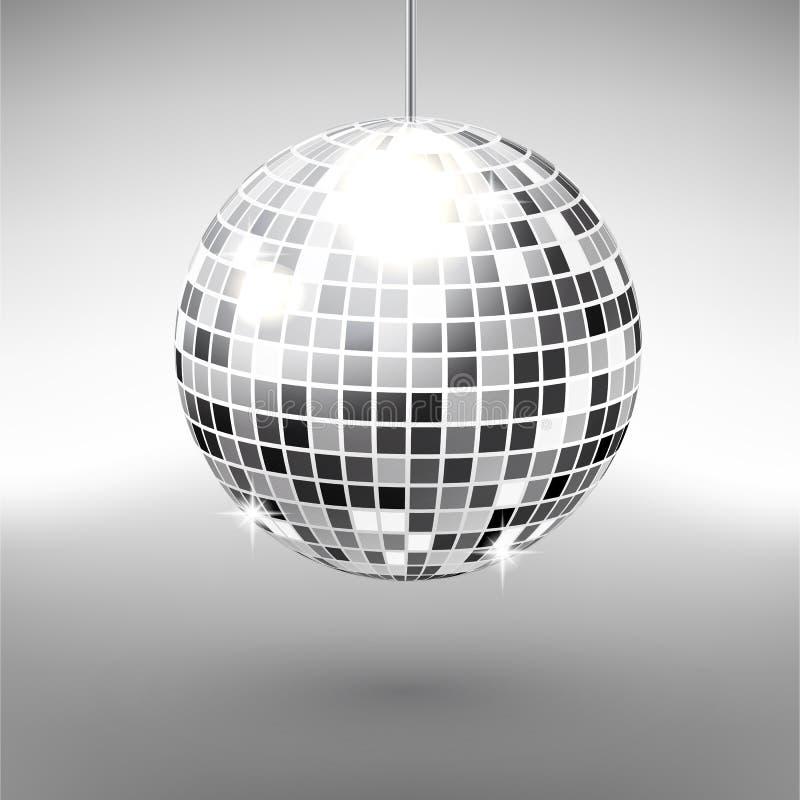 Bola de discoteca aislada en fondo del grayscale Elemento de la luz del partido del club de noche Diseño brillante de la bola de  stock de ilustración