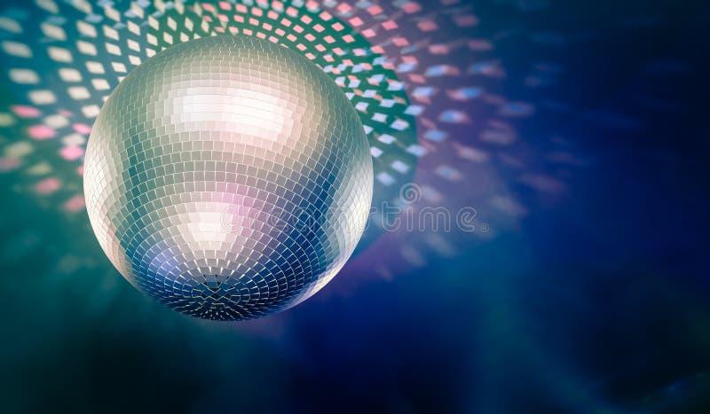 Bola de discoteca brillante y reflejos de luz en fondo 3D rindió la ilustración ilustración del vector