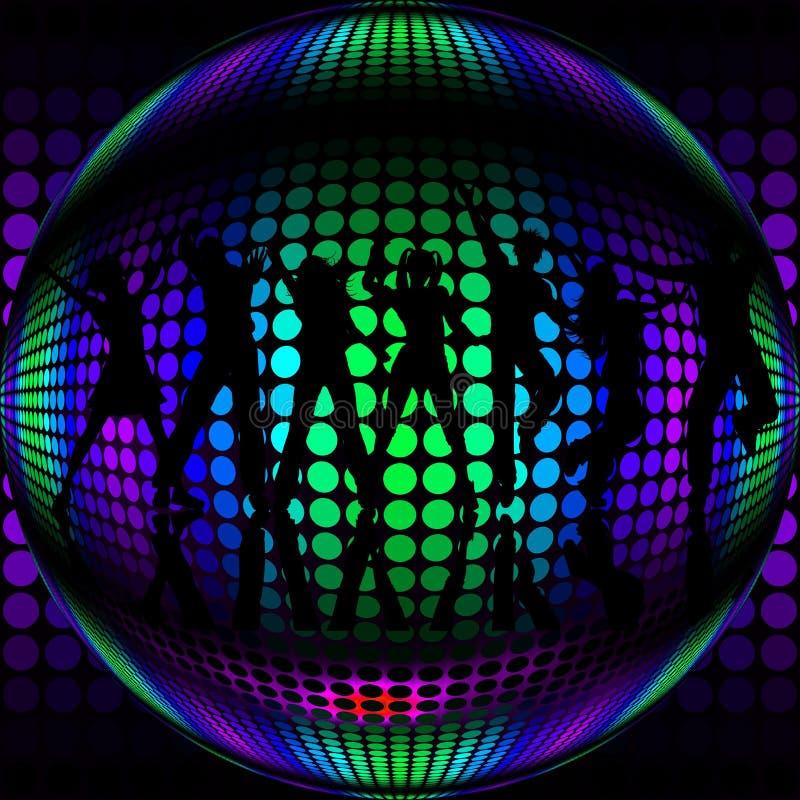 Bola de discoteca con los bailarines de la silueta ilustración del vector