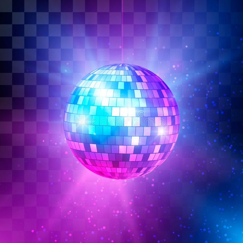 Bola de discoteca con los rayos y el bokeh brillantes Fondo del partido de la noche de la m?sica y de la danza Fondo retro 80s de ilustración del vector