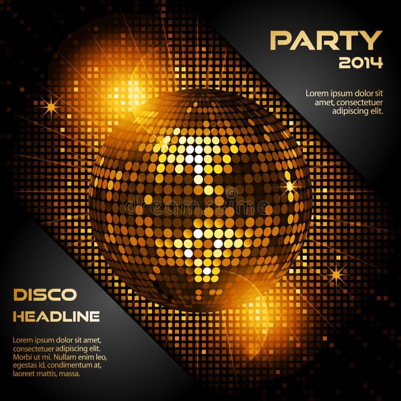 Bola de discoteca en oro que brilla intensamente con el texto de la muestra ilustración del vector