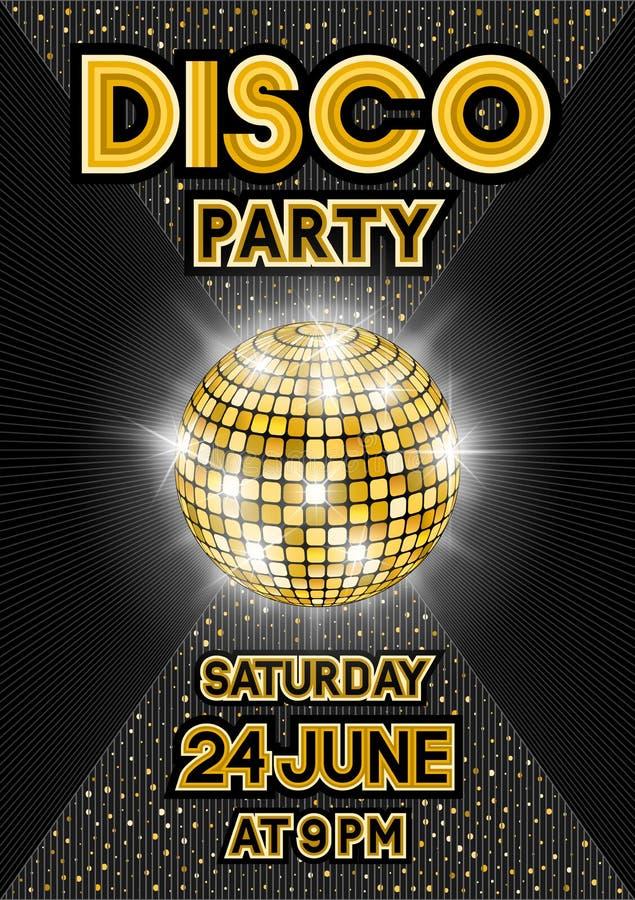 Bola de discoteca de oro en fondo negro Cartel del partido en estilo retro stock de ilustración