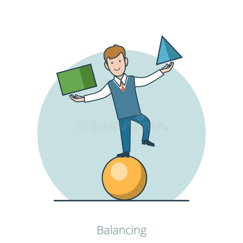 Bola de equilíbrio do truque liso linear do homem de negócio ilustração do vetor