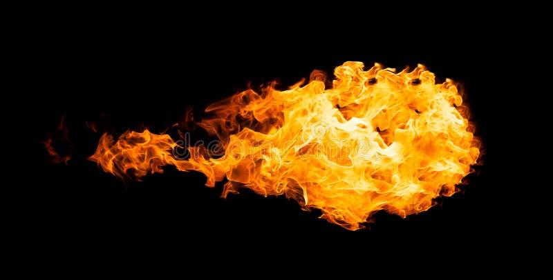 Bola de fogo isolada no preto fotos de stock