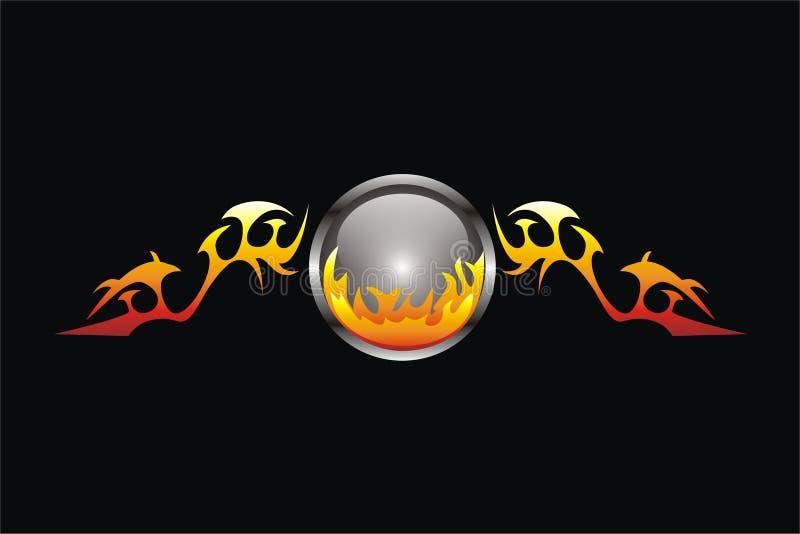 Bola de fogo voada ilustração do vetor