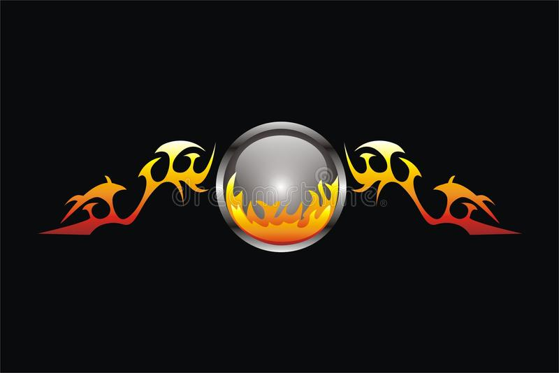 Bola de fuego coa alas imagen de archivo