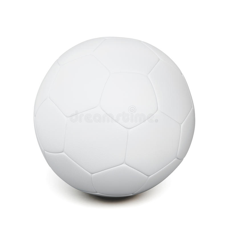 Bola de futebol branca isolada no fundo branco rendição 3d ilustração stock