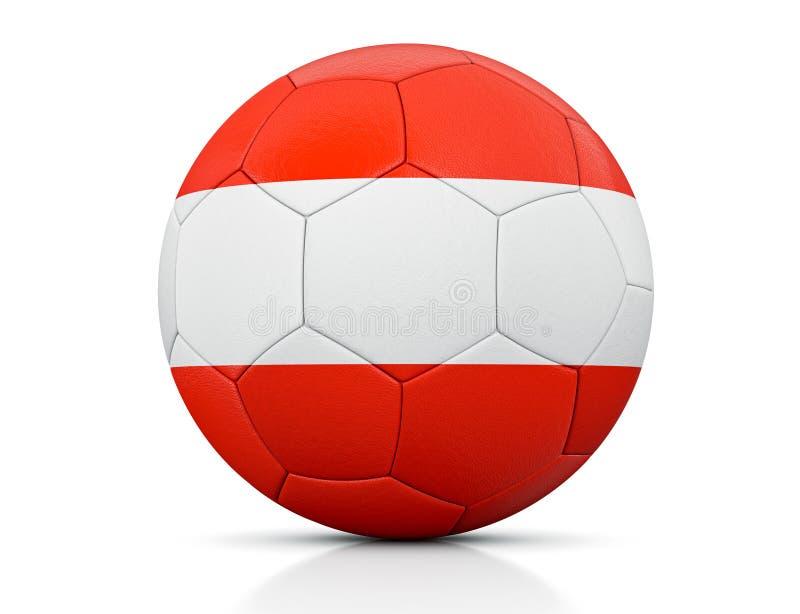 Bola de futebol, bola de futebol clássica pintada com as cores da bandeira de Áustria e textura de couro aparente no estúdio, ill ilustração stock
