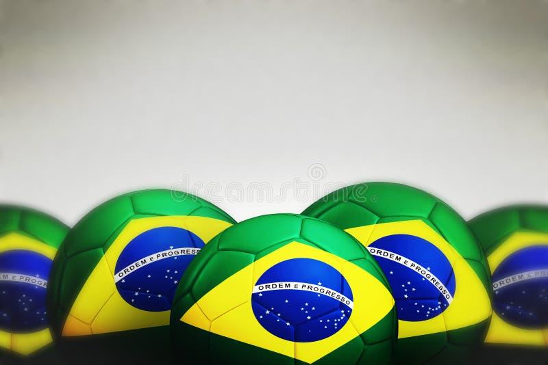 Bola de futebol com bandeira de Brasil imagens de stock royalty free