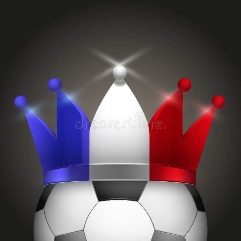 Bola de futebol com a coroa francesa da bandeira ilustração royalty free