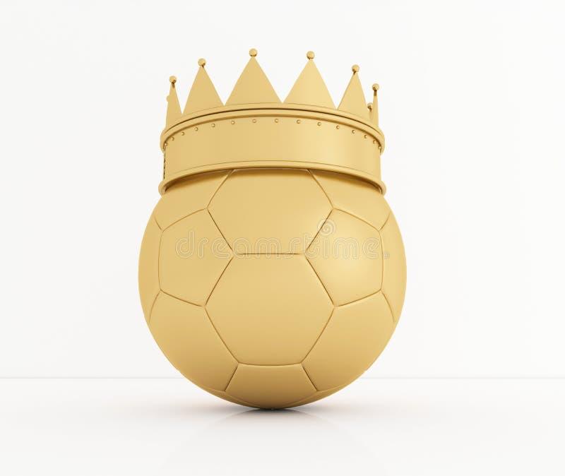 A bola de futebol com a coroa real dourada é um símbolo do troféu do ` s da competição e do vencedor no branco rendição 3d ilustração stock