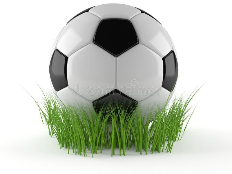 Bola de futebol com grama ilustração do vetor