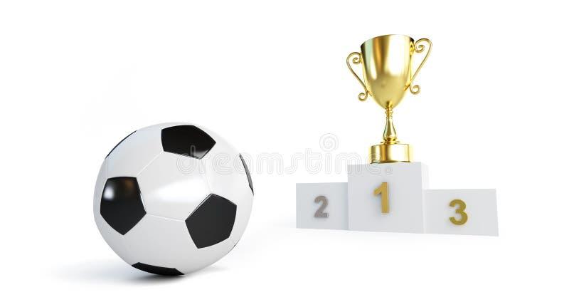 Bola de futebol, copo no suporte em uma ilustração branca do fundo 3D, do ouro rendição 3D ilustração royalty free