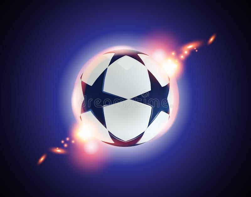 bola de futebol 3d Bola do futebol com as estrelas azuis no fundo azul ilustração stock