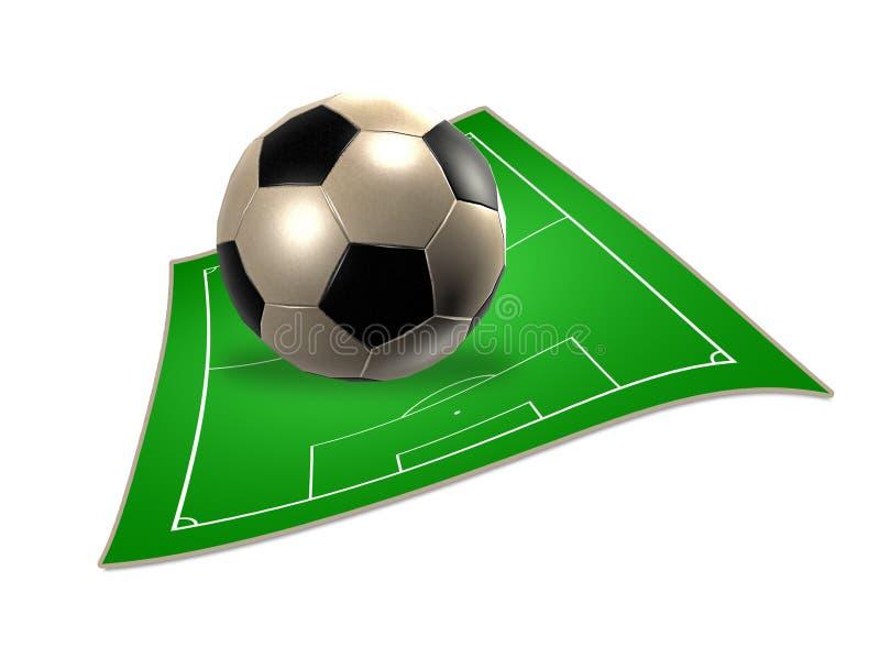 bola de futebol 3d com campo de futebol ilustração royalty free