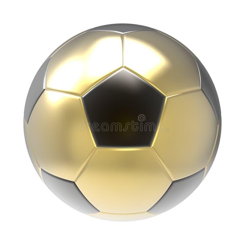 A bola de futebol 3D do ouro rende foto de stock