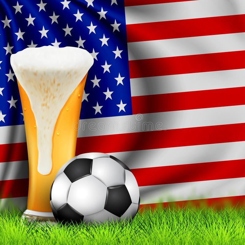 Bola de futebol 3d e vidro realísticos da cerveja na grama com a bandeira de ondulação nacional de AMÉRICA Projeto de um fundo à  foto de stock royalty free