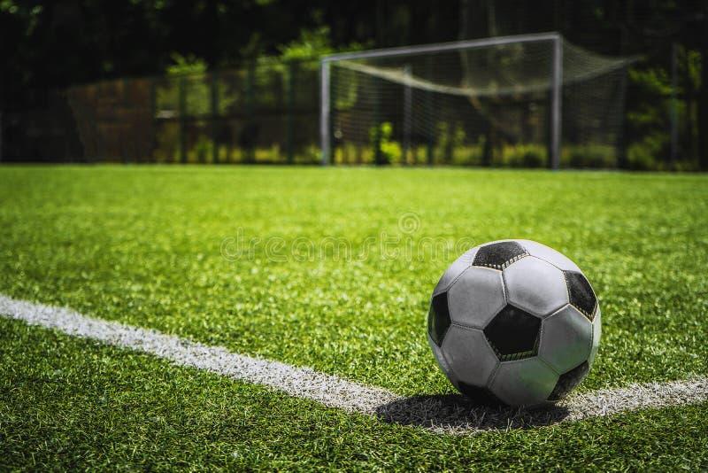 Bola de futebol do close up na grama verde no por do sol fotos de stock royalty free