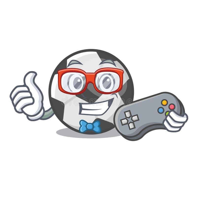 Bola de futebol do Gamer em uma cesta dos desenhos animados ilustração royalty free