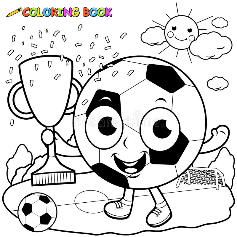 Bola de futebol dos desenhos animados que guarda a página do livro para colorir do troféu ilustração royalty free