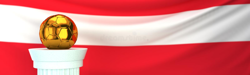 Bola de futebol dourada do futebol na frente da bandeira de Áustria ilustração royalty free
