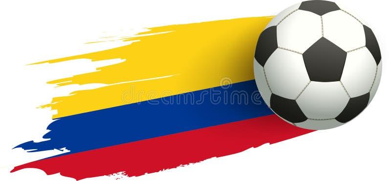 Bola de futebol e bandeira de Colômbia Objetivo do pontapé da vitória ilustração royalty free