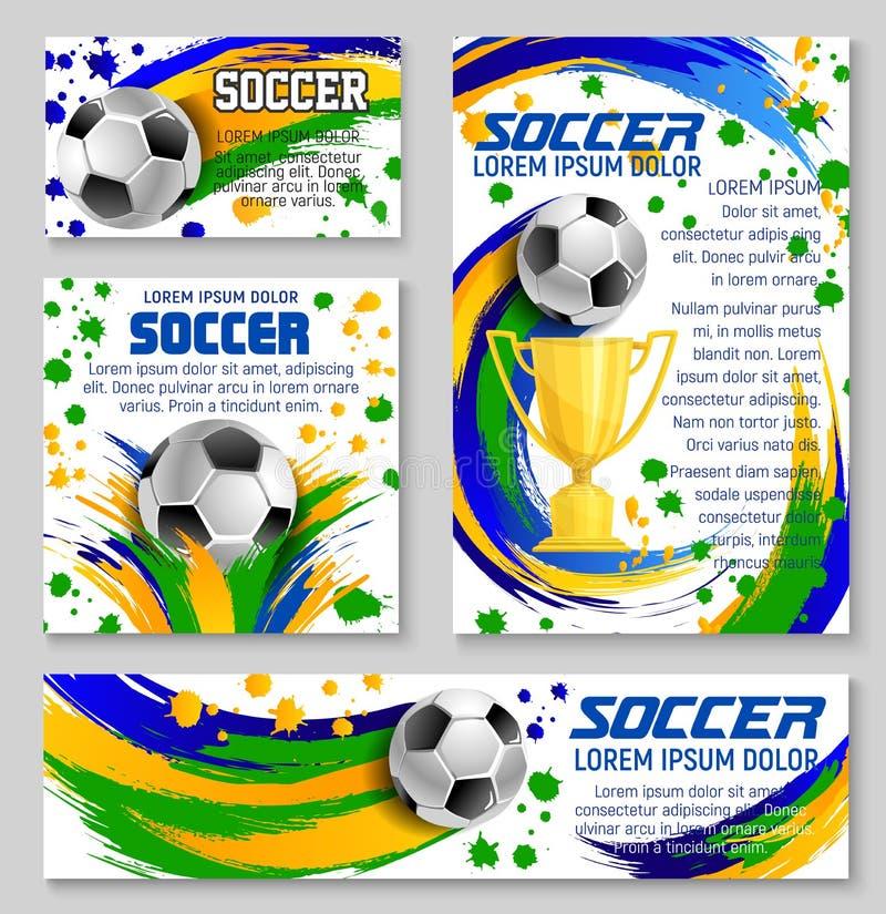 Bola de futebol e cartão do troféu do clube de esporte do futebol ilustração royalty free