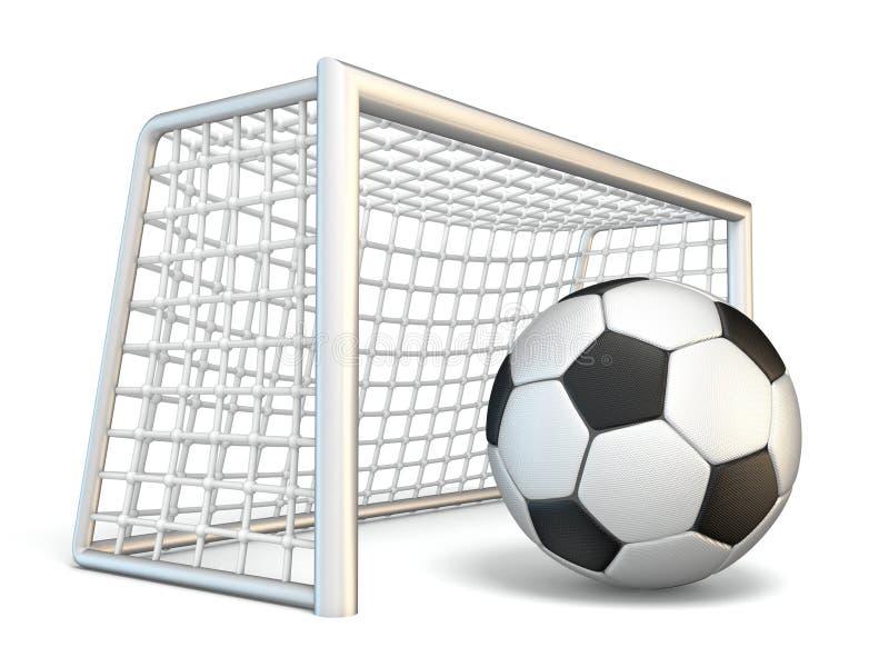 A bola de futebol e o futebol bloqueiam a vista lateral 3D ilustração royalty free