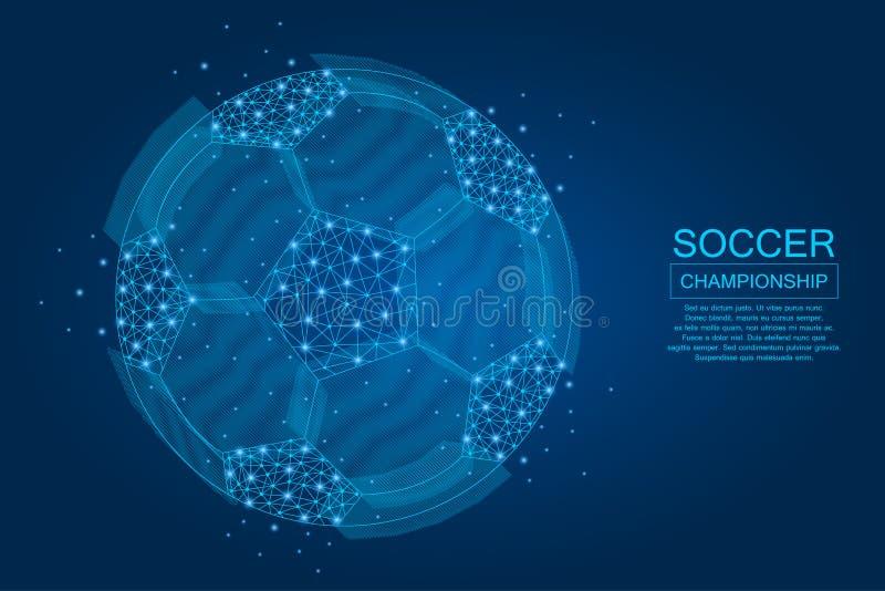 Bola de futebol feita dos pontos, das linhas e de formas poligonais iluminadas A bola do futebol no fundo azul com incandescência ilustração stock
