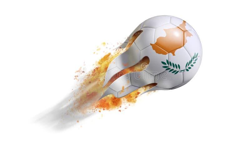 Bola de futebol flamejante de voo com bandeira de Chipre ilustração royalty free