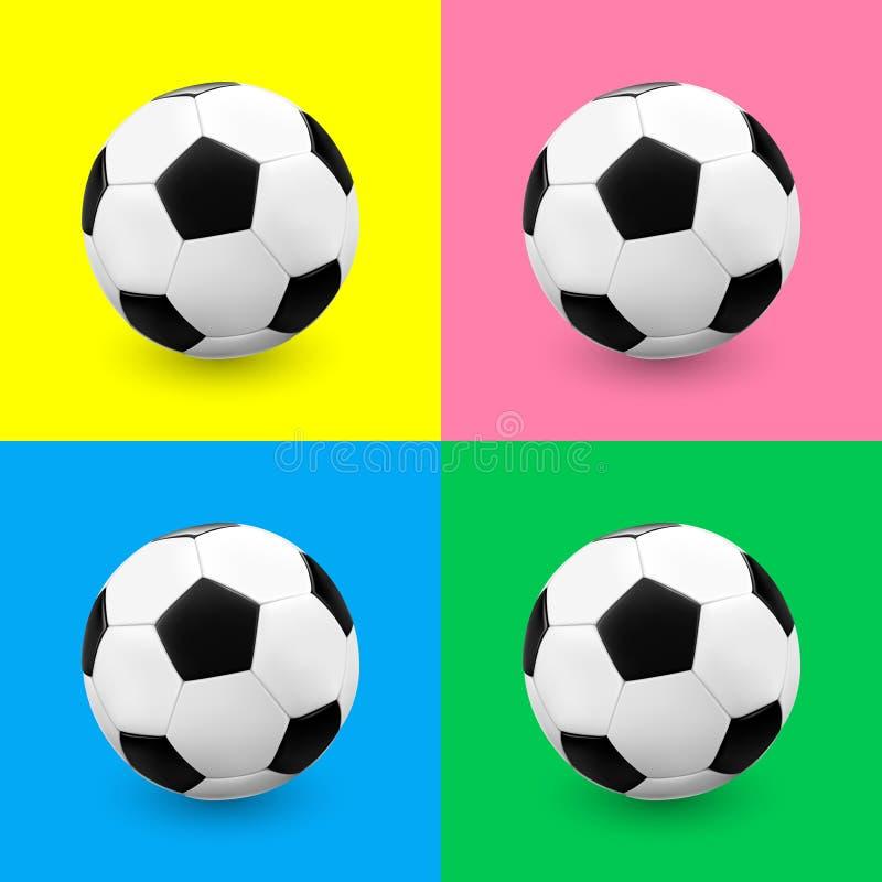 A bola de futebol/futebol ajustou-se em fundos coloridos ilustração do vetor