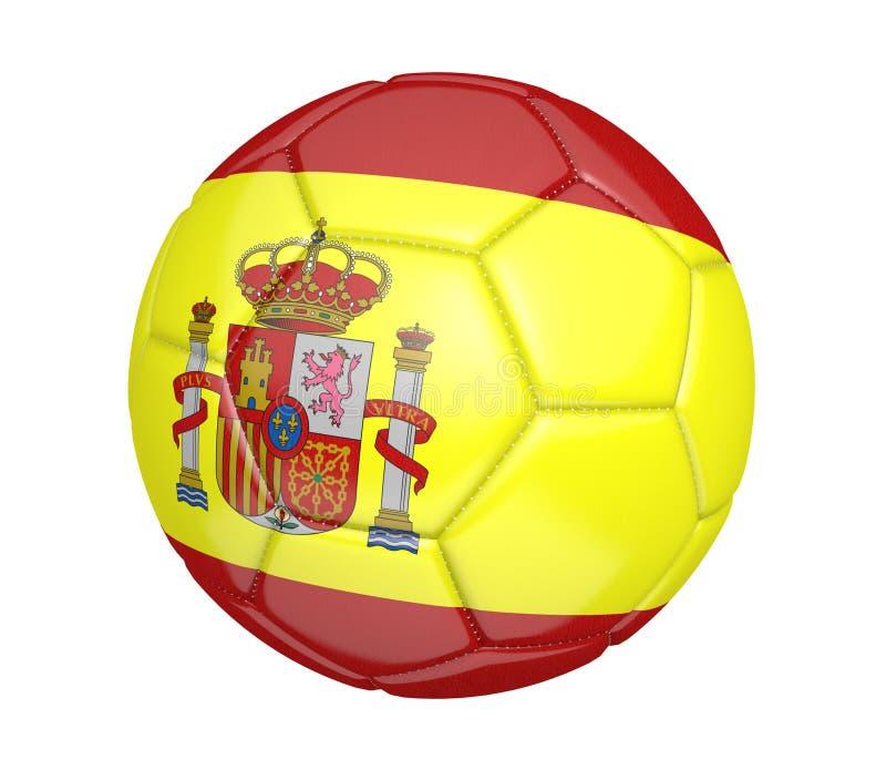 Bola de futebol isolada, ou futebol, com a bandeira de país da Espanha ilustração royalty free