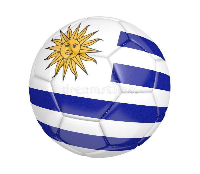Bola de futebol isolada, ou futebol, com a bandeira de país de Uruguai, rendição 3D ilustração stock