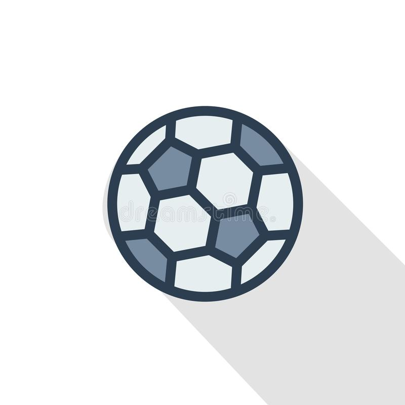 Bola de futebol, linha fina ícone liso do futebol da cor Símbolo linear do vetor Projeto longo colorido da sombra ilustração do vetor