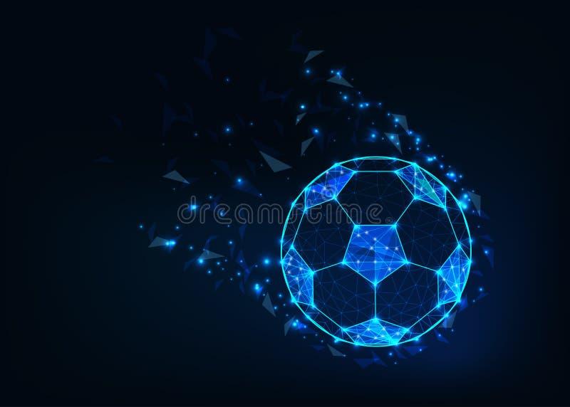 Bola de futebol na ação feita dos pontos e as linhas, estrelas brilhantes e formas geométricas na obscuridade - fundo azul ilustração royalty free