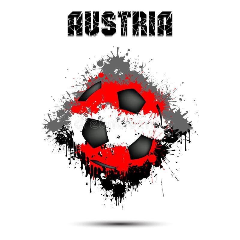 Bola de futebol na cor de Áustria ilustração do vetor