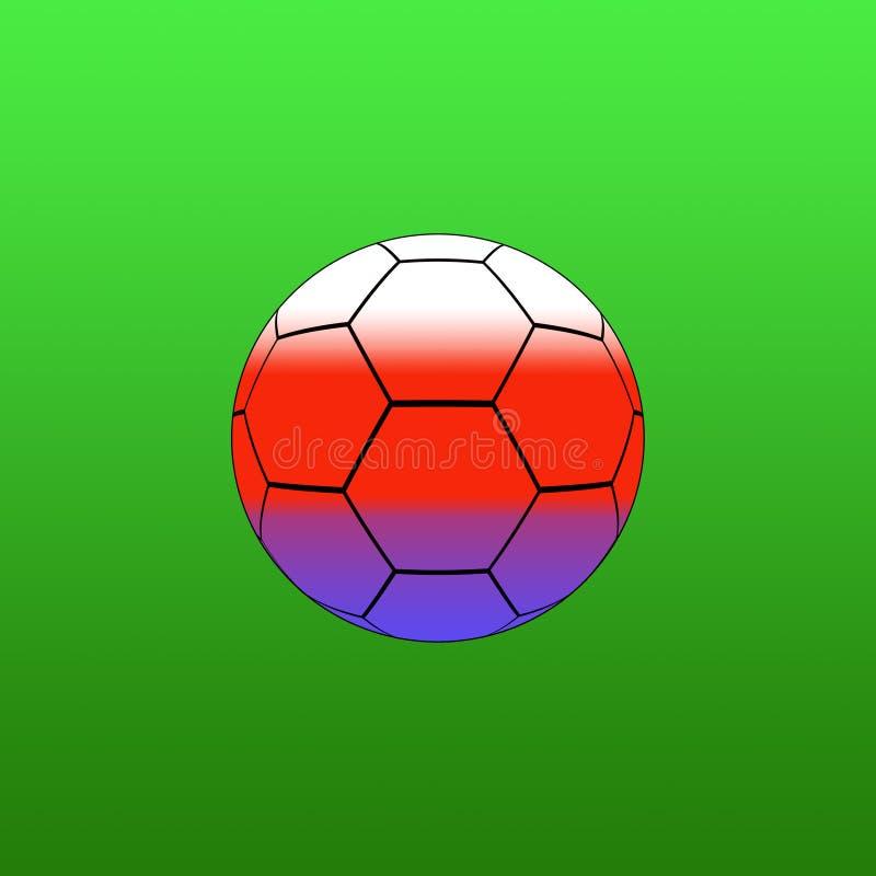 Bola de futebol na cor no fundo verde ilustração do vetor