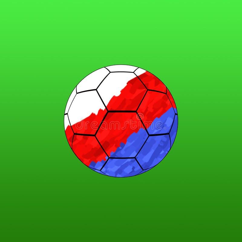 Bola de futebol na cor no fundo verde ilustração royalty free