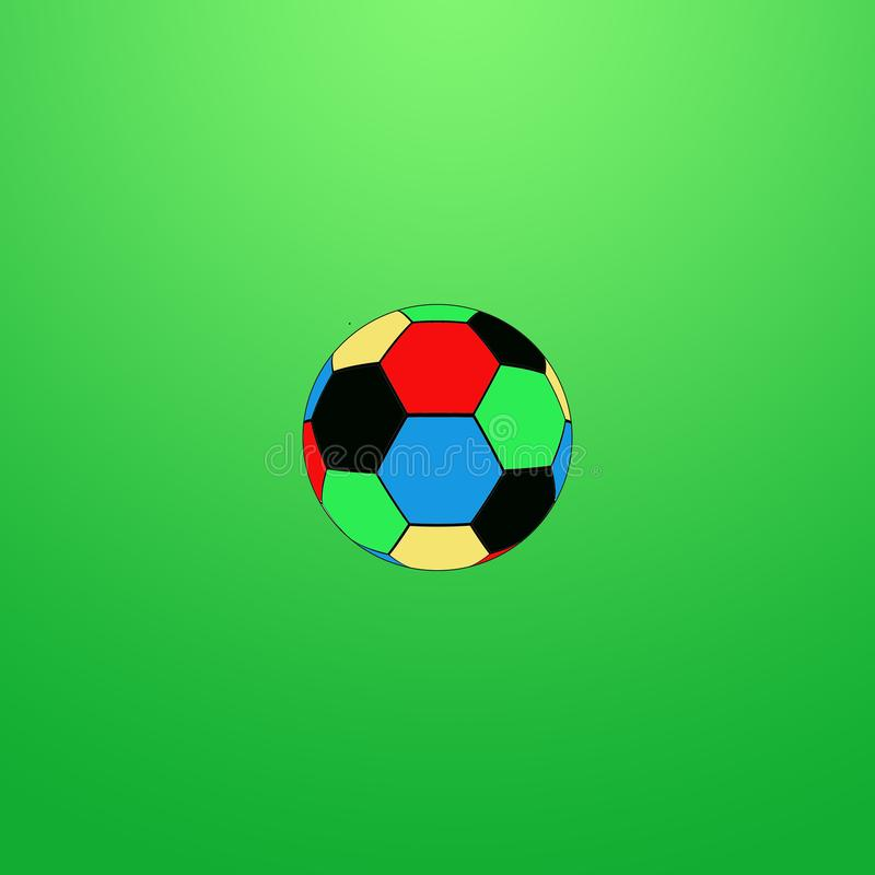 Bola de futebol na cor no fundo verde ilustração stock