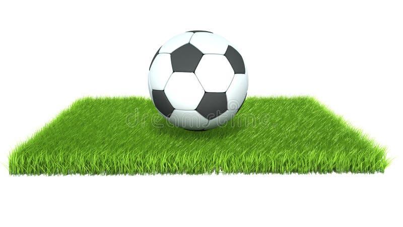 Bola de futebol na grama isolada no fundo branco ilustração stock