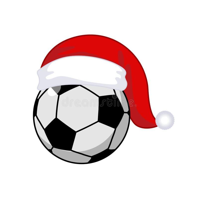 Bola de futebol no chapéu de Santa Claus Esportes ano novo e Natal ilustração royalty free