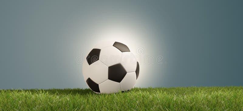 Bola de futebol no fundo criativo abstrato claro brilhante vibrante 3d-illustration do sucesso da grama verde ilustração royalty free