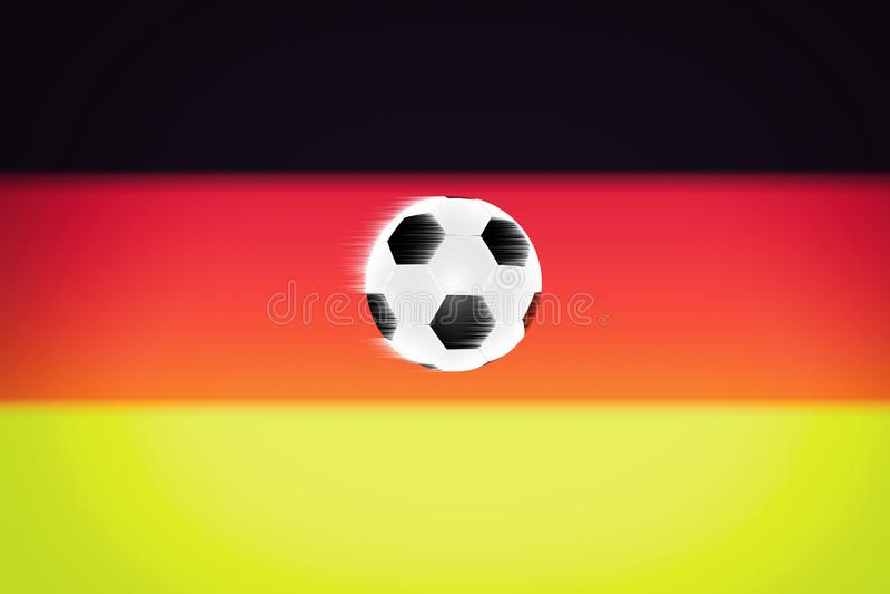 Bola de futebol no fundo da bandeira de Alemanha ilustração royalty free