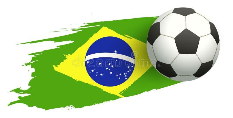 Bola de futebol no fundo da bandeira brasileira ilustração royalty free